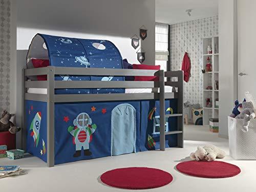 Vipack Cama de juegos Pino con cortina y túnel de madera de pino maciza lacada en gris