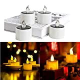 6 Pieces Solar Lantern Tea Lights Candles - Rechargeable Flickering Electronic Solar LED Lamp Nightlight - Plastic Flameless Solar Energy Candle for Outdoor Camping Emergency