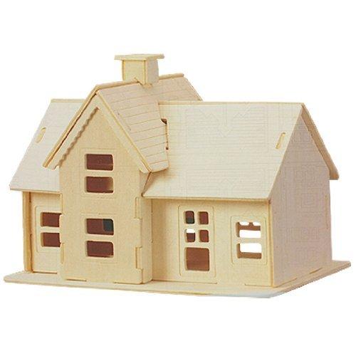 Dcolor Kit de Construction/Puzzles 3D de modele de Maison de Village en Bois