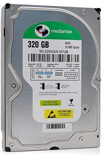 "Mediamax 3.5"" interne Festplatte 320GB HDD, SATA III, Cache 16MB, RPM: 7200 (U/min), WL320GSA1672B, SATA Festplatte intern, Backup Festplatte für Desktop PCs, Gaming Computer"