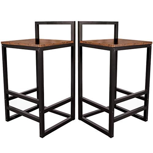 Becko - Juego de 2 taburetes de bar con respaldo bajo y reposapiés de metal, fácil montaje, estilo industrial vintage en sala de estar, cocina, salón de fiesta (marrón rústico)