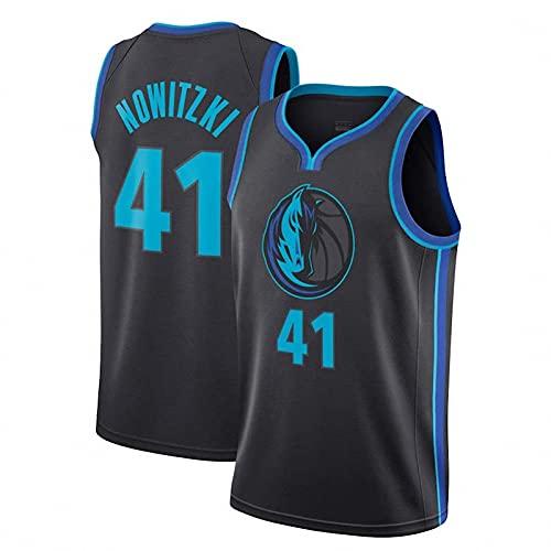 AGLT 2021 NBA Hombre Basketball Jersey,Lone Ranger n#41 DNowitzki Ropa de Baloncesto,Camisetas Al Aire Libre Casual Mujer Redondo CháNdales,1,XL