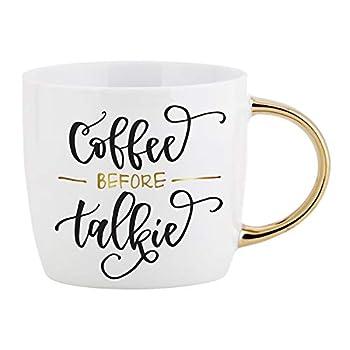 SB Design Studio Sippin  Pretty Ceramic Coffee Mug 14-Ounce Coffee Before Talkie
