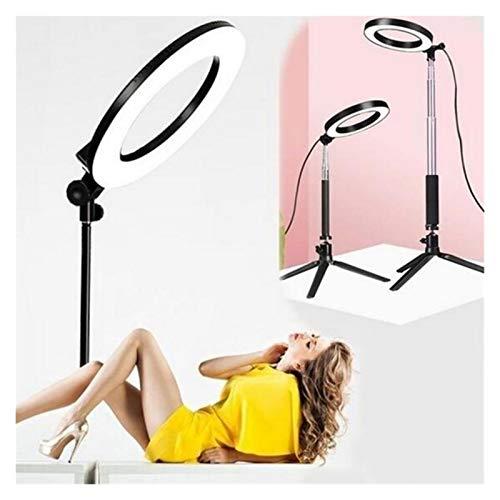 リングライト 調光可能な8インチリングの光では、動画撮影用のLEDカメラ自分撮りライトリング用三脚電話ホルダースタンド 自撮り棒 (Color : Ring Light KIT)