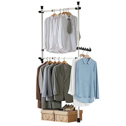SoBuy® FRG109 Teleskop Garderoben System mit 2 Kleiderstangen Kleideraufbewahrungssystem Regalsystem Kleiderständer