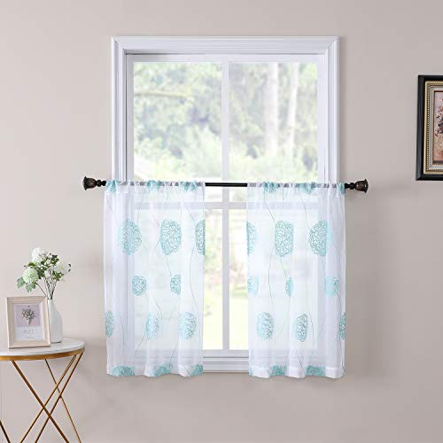 Tollpiz Flora Short Sheer Tier Curtains Aqua Blue Nest Embroidery Half Kitchen Curtain Rod Pocket Voile Cafe Window Curtains for Bathroom, 30 x 24 inches Long, Set of 2 Panels
