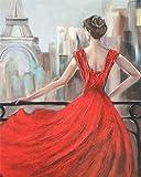 Vfvozr Kit de Pintura por números para Baile de Mujer Adultos Paisaje DIY Pintura al óleo por número Regalos de cumpleaños para Adultos Niños Pintura 40x50cm Sin Marco
