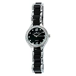 Black Two-Tone Quartz Waterproof Wristwatch With Rhinestones