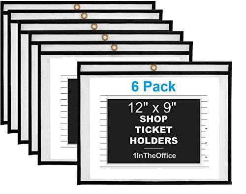 1InTheOffice Dry Erase Pocket Sleeves, Black Shop Ticket Holders 9x12, (6 Pack)