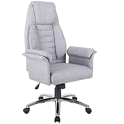 HomCom High Back Fabric Executive Leisure Home Office Chair with Arms - Light Grey from Aosom LLC