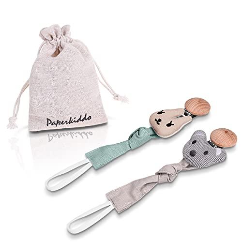 Cadena Chupetes de Clip Ajustables, Chupetero Personalizado para Bebés +0 meses-8.67 in (Oso + conejo)