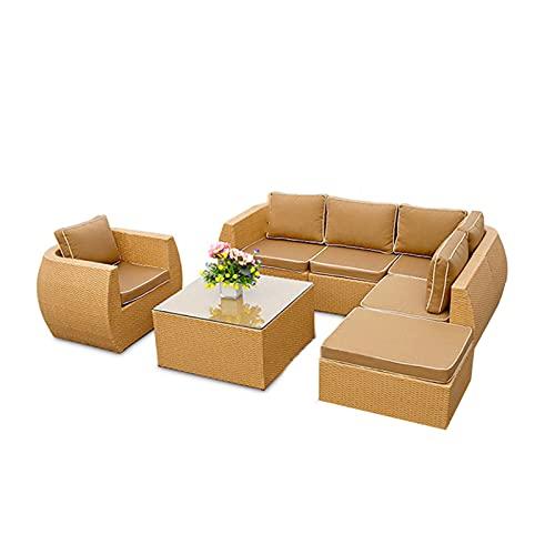 Conjunto de sofás Combinaciones De Mesa De Centro De Sofá Al Aire Libre, Sofá De Invitados Suave Y Cómodo, Sofá De Ratán PE para Piscina Y Fiesta