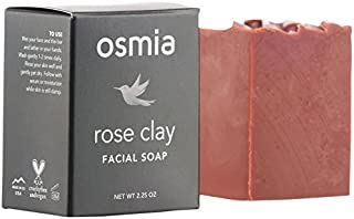 Osmia Rose Clay Facial Soap - Australian Pink Clay, Coconut Milk & Wild-Harvested Mango Butter Cleansing Bar for Face, Perfect for Dry, Mature & Sensitive Skin (2.25 Ounces)