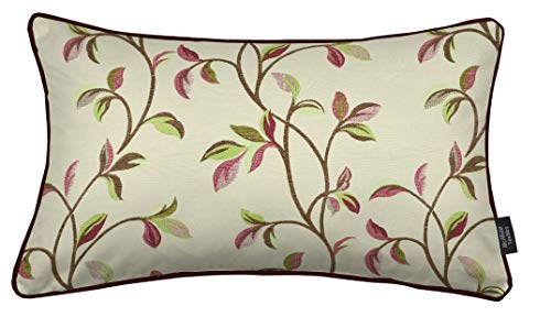 McAlister Textilien Annabel bestickter Kissenbezug in Kirschrot Maße 50 x 30 cm Gobelin-Gewebe Deko Kissenhülle für Couch, Sofa, Sessel, Bett