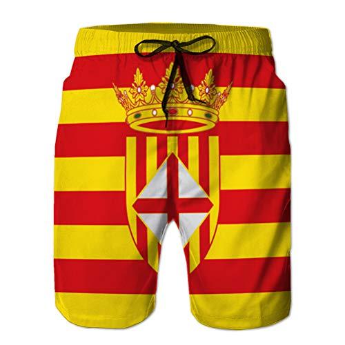 vbndfghjd 12 Herren Casual Shorts Badehose Beach Board Shorts Flagge von Barcelona ist eine Provinz XXL