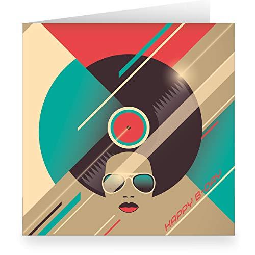 Groovy Retro verjaardagskaart om te feliciteren (vierkant, 15,5 x 15,5 cm met envelopp) met platen, partykop: Happy B-day - vintage cadeaukaart voor beste vrienden 24 Grußkarten