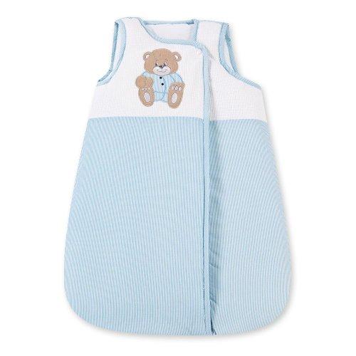 Baby Schlafsack ohne Ärmel Kinder Schlafsack Baumwolle Ganzjahres Babyschlafsack Memi, Farbe:Blau