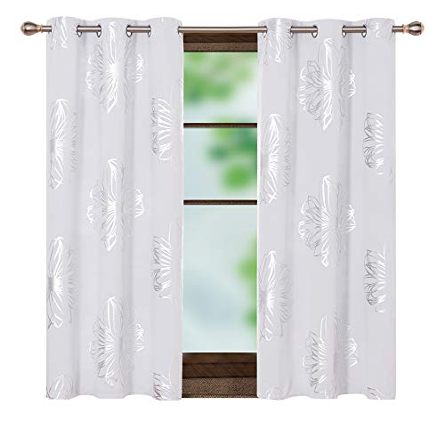 Deconovo Foil Print Flower Design Blackout Curtains Room Darkening Thermal Insulated Window Grommet Top Drapes for Short Window 42W x 45 Inch Greyish White Set of 2