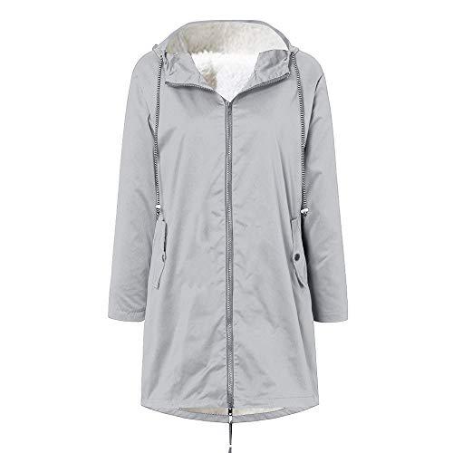 Pianshanzi Chaqueta de invierno para mujer, chaqueta de softshell, chubasquero forrado, impermeable, transpirable, cálida, para exterior, con capucha, cortavientos, gris, XXL