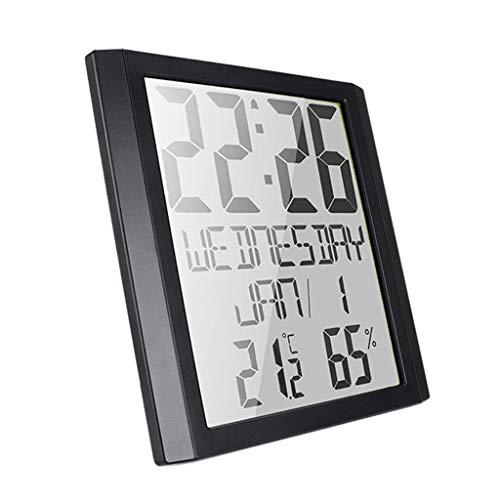 Milageto Reloj Despertador Digital Compacto con Pilas, Pantalla de Dígitos en Negrita Caja Negra + Dígito Negro, Repetición, Humedad de La Habitación, Función