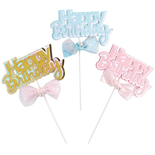 KESYOO 3 Stks Gelukkige Verjaardagstaart Topper Picks Happy Birthday Decoraties Voor Kinderen Verjaardag Baby Shower Party