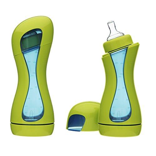 iiamo Home 2 Biberones Anticolicos con Tetina 100% de Silicona Sin BPA 380ml Recién Nacido 0m+ Verde/Azul