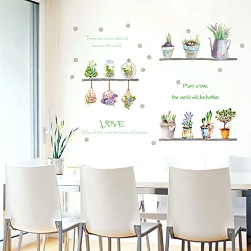 Blume Bonsai Wandaufkleber Topfpflanze Grünes Gras Aufkleber für Wohnzimmer Home Decoration Wasserdichte Kinderzimmer Kunst Wandbilder
