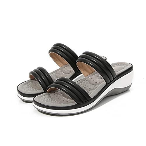 DTKJ Zapatillas de mujer de cuña de color sólido punta redonda sandalias de verano playa al aire libre cómodo moda casual zapatos de mujer, color Negro, talla 38.5 EU