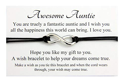 Awesome Auntie Infinity wish bracelet,Birthday Christmas Gift Card,Organza Gift bag (Black)