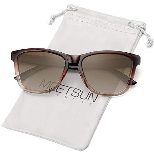 MEETSUN Polarized Sunglasses for Women Men Classic Retro Designer Style (Ombre Brown Frame   Gradient Brown Lens, 54)
