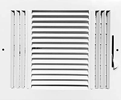 """HBW 10""""x 8"""" (Duct Opening Size) 3-Way Stamped Face Steel Ceiling/sidewall Air Supply Register - Vent Cover - Actual Outside Dimension 11.75"""" X 9.75"""""""