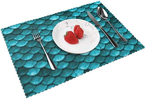 Hermoso Juego de 4 manteles Individuales de pez Sirena Azul Marino Verde Azulado para Mesa de Comedor, Lavables, de Tejido Cruzado, Resistentes al Calor, para Mesa de Cocina, Antideslizantes,