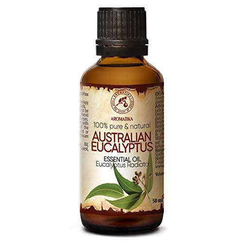 Etherische olie van Australische Eucalyptus 50ml, 100% puur & natuurlijk, essentiële olie - aromatherapie - geurolie - geurverspreider - ontspanning - toevoegen aan bad & cosmetica - massage - wellness - aroma lamp of elektrische diffuser