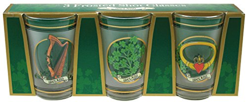 Frosted Irish Shot Glasses, Set of 3