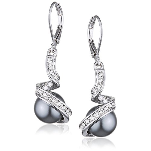 Yoursfs Faux Pearl Drop Earings for Women 18ct White Gold Plated Leverback Dangly Earring