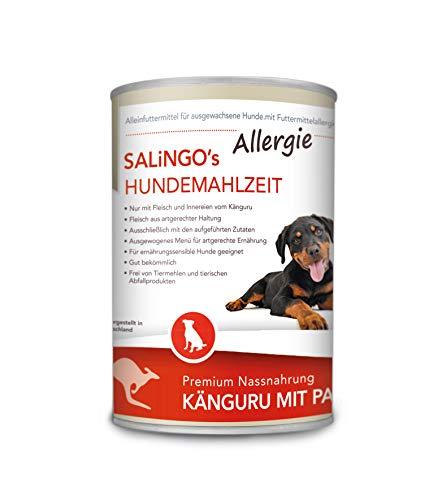SALiNGO Premium Hundefutter nass Känguru mit Pastinake | getreidefrei | hypoallergen | Single Protein | Hunde Nassfutter 6 x 400g