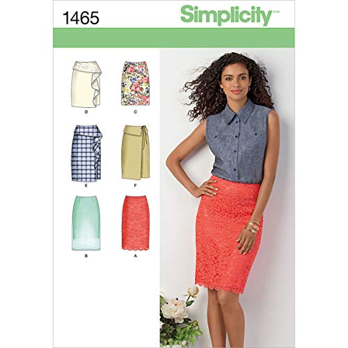 Simplicity Pattern 1465 Misses Skirt in 2 Lengths with Front and Trim Variations Size 14-16-18-20-22