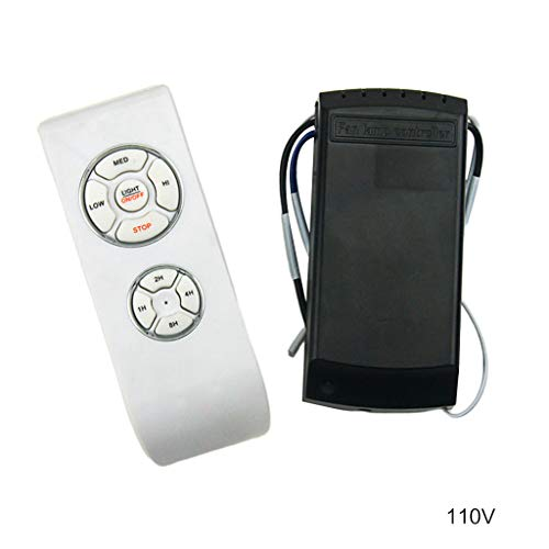 smallJUN 220V, 110V Deckenventilator Fernbedienung Lampensteuerung Wireless Control Kit Universalschalter Wireless Fernbedienungsschalter Weiß + Schwarz