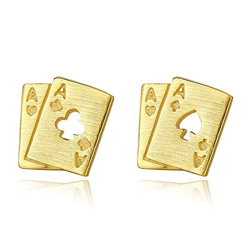 Pendientes de tuerca de plata de ley 925 – Poke F (Ace), joyería fina para mujer, día de San Valentín, aniversario, uso diario (chapado en rodio)