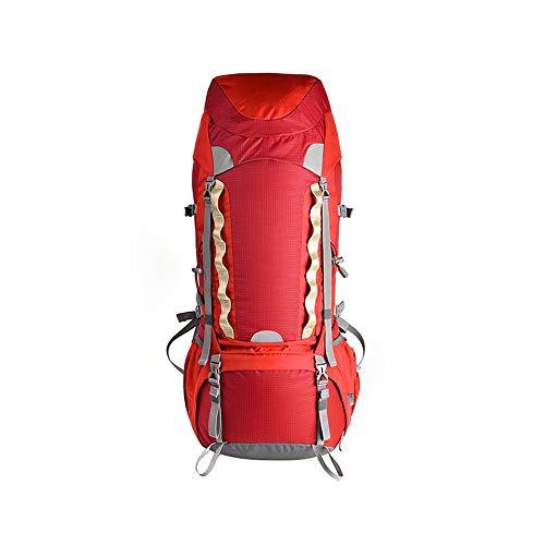 ZA Professionelle Bergsteigertasche, Doppelschulter männlich, weiblich Ultraleicht 70L Outdoor-Touristik Bergwandern Rucksack, Regenschutz, doppelt wasserdicht, weiches Gewebe (Farbe : Rot)