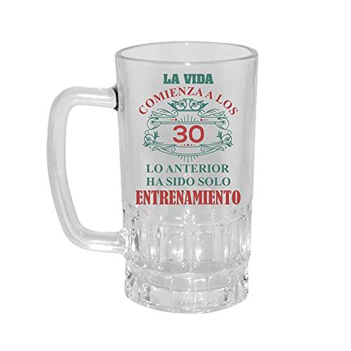 Kembilove Jarra de Cerveza Personalizada y grabada con el nombre – Regalos Originales para Cumpleaños – Con Frase La vida comienza a los 30