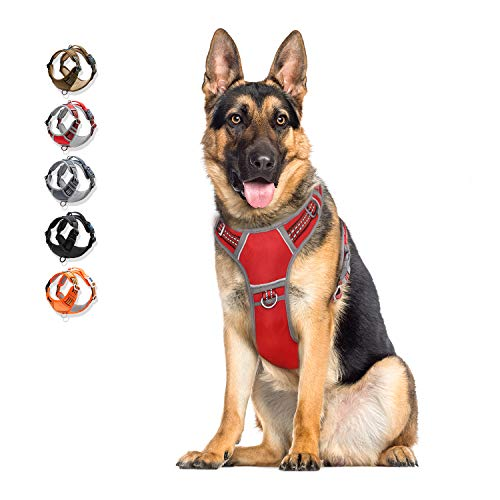 WALKTOFINE Dog Harness No Pull Reflective, Comfortable Harness with Handle,Fully Adjustable Pet Leash Vest for Small Medium Large Dog Breed Car Seat Harness Red XL