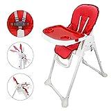 Sotech - Chaise haute pour bebe,hautes pliables pour bébé à partir de 6 mois, Chaise haute enfant avec hauteurs ajustables/plateau amovible/coussin confortable,Rouge