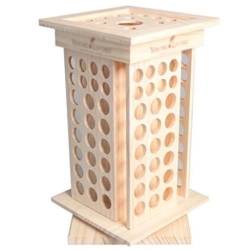 Soporte giratorio de aceite esencial, caja de almacenamiento de aceite esencial, 125 rejillas para almacenamiento en el hogar (color beige, tamaño: 23,5 x 23,5 x 40,5 cm)