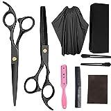 WYSJK Haarschere Set Friseur mit Friseurschere, Licht Friseurscheren mit Einseitiger Mikroverzahnung, Effilierschere, Modellierschere, Kamm, Haarnadeln, Reinigungstüchlein und Haarumhang