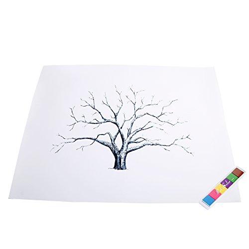 Tnfeeon Árbol de Huellas DIY Personalizado Árbol de Boda Libro de Visitas Alternativo Libro de Huéspedes de Árbol de Huella Digital con 6 Colores para Boda Fiesta de Cumpleaños(#1)
