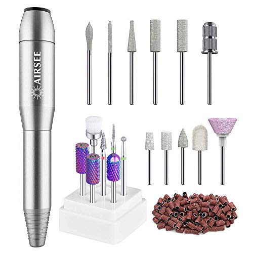 AIRSEE Portable Electric Nail Drill Professional Efile Nail Drill Kit For Acrylic, Gel Nails, Manicure Pedicure Polishing Shape Tools with 7 Pieces Tungsten Carbide Electric Nail Drill Bits