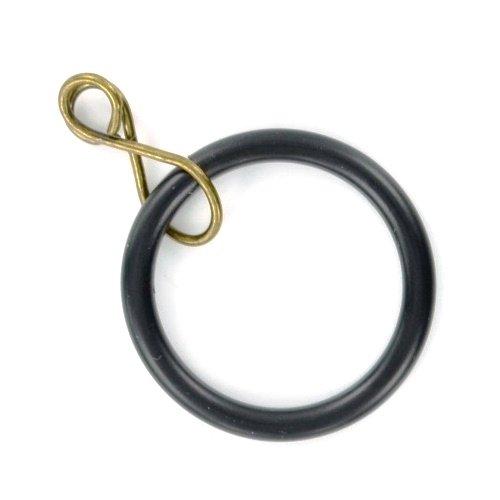 Merriway BH03224 metalen gordijnroede ringen met los oog, binnendiameter 35mm (1,3/8 inch) buitendiameter 42mm (1,5/8 inch) - zwart, 8 stuks