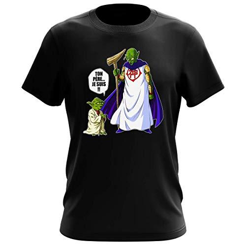T-Shirt Homme Noir Parodie Dragon Ball Z - Star Wars - Yoda et Dieu - Ton père. Je suis !! (T-Shirt de qualité Premium de Taille M - imprimé en France)
