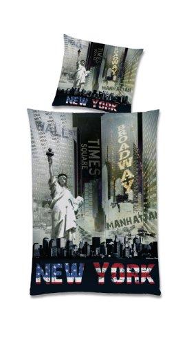 Global Labels G 82 600 NY3 100A Städte New York Night Bettwäsche Renforce 140 x 200 Bettbezug und 70 x 90 cm Kissenbezug